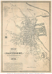 Nantucket Village 1834 Coffin - Old Map Reprint