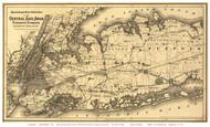 Long Island Railroad Map 1873 - Colton - Old Map Reprint
