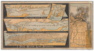 Long Island 1880 - Fall River Steamer Line - Old Map Reprint