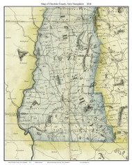 Cheshire County New Hampshire 1816 - Old Map Custom Print - Carrigain