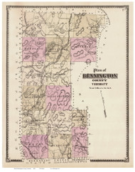 Bennington County Vermont 1869 - F.W. Beers - Old Map Reprint - VT County Other