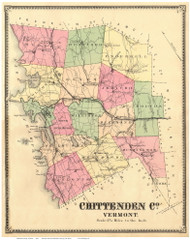 Chittenden County Vermont 1869 - F.W. Beers - Old Map Reprint - VT County Other