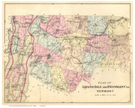 Franklin & Grand Isle County Vermont 1871 - F.W. Beers - Old Map Reprint - VT County Other