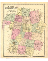 Rutland County Vermont 1869 - F.W. Beers - Old Map Reprint - VT County Other