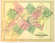 Washington County Vermont 1873 - F.W. Beers - Old Map Reprint - VT County Other