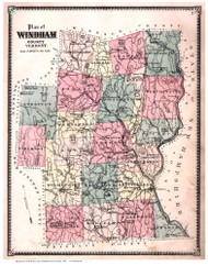 Windham County Vermont 1869 - F.W. Beers - Old Map Reprint - VT County Other