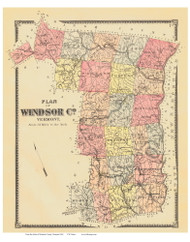 Windsor County Vermont 1869 - F.W. Beers - Old Map Reprint - VT County Other