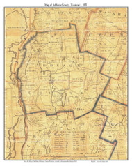 Addison County Vermont 1821 Old Map Custom Print - J. Whitelaw