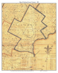 Caledonia County Vermont 1821 Old Map Custom Print - J. Whitelaw