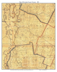 Chittenden County Vermont 1821 Old Map Custom Print - J. Whitelaw