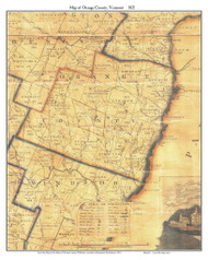 Orange County Vermont 1821 Old Map Custom Print - J. Whitelaw