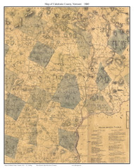 Caledonia County Vermont 1860 Old Map Custom Print - H.F. Walling