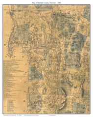 Rutland County Vermont 1860 Old Map Custom Print - H.F. Walling