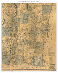 Windham County Vermont 1860 Old Map Custom Print - H.F. Walling