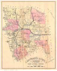 Chittenden County Vermont 1882 Old Map Reprint - Gazetteers
