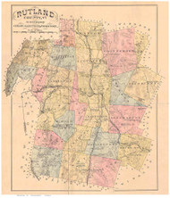 Rutland County Vermont 1880 Old Map Reprint - Gazetteers