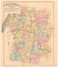 Rutland County Vermont 1880 Old Map Reprint - Gazetteers