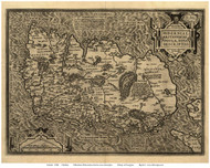 Ireland 1598 Ortelius - Old Map Reprint