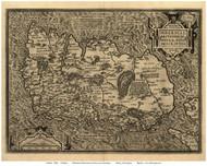 Ireland 1598 Ortelius - Old Map Reprint