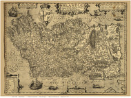 Ireland 1606 Boazio - Old Map Reprint