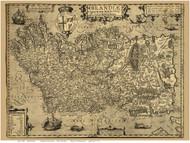 Ireland 1606 Boazio - Old Map Reprint