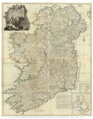 Ireland 1790 Roque - Old Map Reprint
