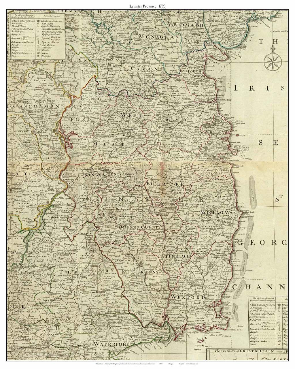 Map Of Ireland Leinster.Ireland Leinster Province 1790 Roque Old Map Custom Print