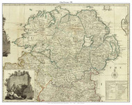 Ireland, Uslter Province - 1790 Roque - Old Map Custom Print