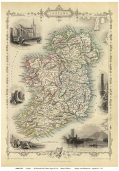Ireland 1851 Rapkin - Old Map Reprint
