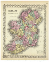 Ireland 1856 Colton - Old Map Reprint
