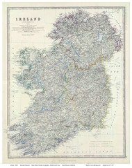 Ireland 1861 Johnston - Old Map Reprint