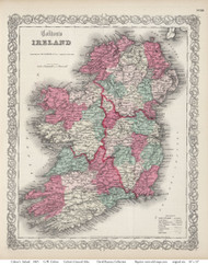 Ireland 1865 Colton - Old Map Reprint