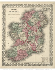 Ireland 1869 Colton - Old Map Reprint