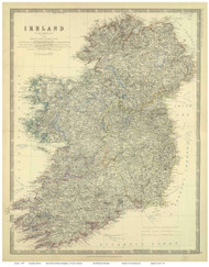 Ireland 1879 Johnston - Old Map Reprint
