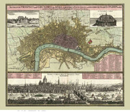 Old Map of London 1740 German - Old Map Reprint