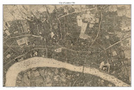 Old Map of the City of London 1746 Rocque - Old Map Custom Reprint