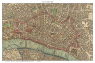 Old Map of the City of London 1809 Laurie & Whittle - Old Map Custom Reprint