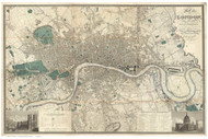 Old Map of London 1826 Greenwood - Old Map Reprint