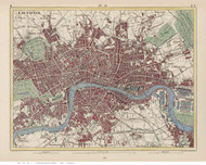 Old Map of London 1846 Heck - Old Map Reprint