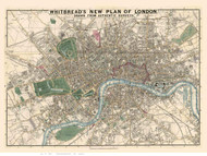 Old Map of London 1853 Whitbread - Old Map Reprint