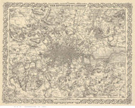 Old Map of London 1855 Colton BW - Old Map Reprint