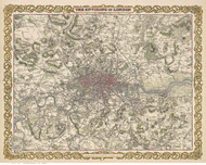 Old Map of London 1855 Colton - Old Map Reprint