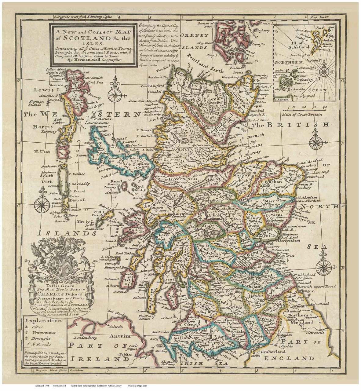 Scotland 1736 Moll - Old Map Reprint