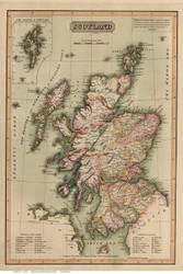 Scotland 1814 Melish - Old Map Reprint