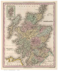 Scotland 1836 Tanner - Old Map Reprint