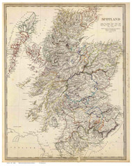 Scotland 1841 Society for the Diffusion of Useful Knowledge - Old Map Reprint