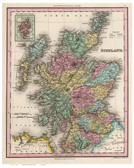 Scotland 1842 Tanner - Old Map Reprint
