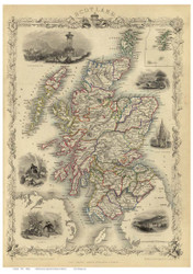 Scotland 1851 Martin - Old Map Reprint