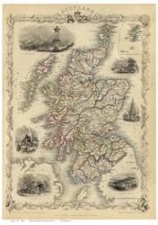Scotland 1851 Martin - Old Map Reprint