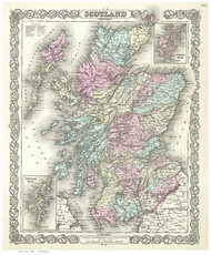 Scotland 1855 Colton - Old Map Reprint